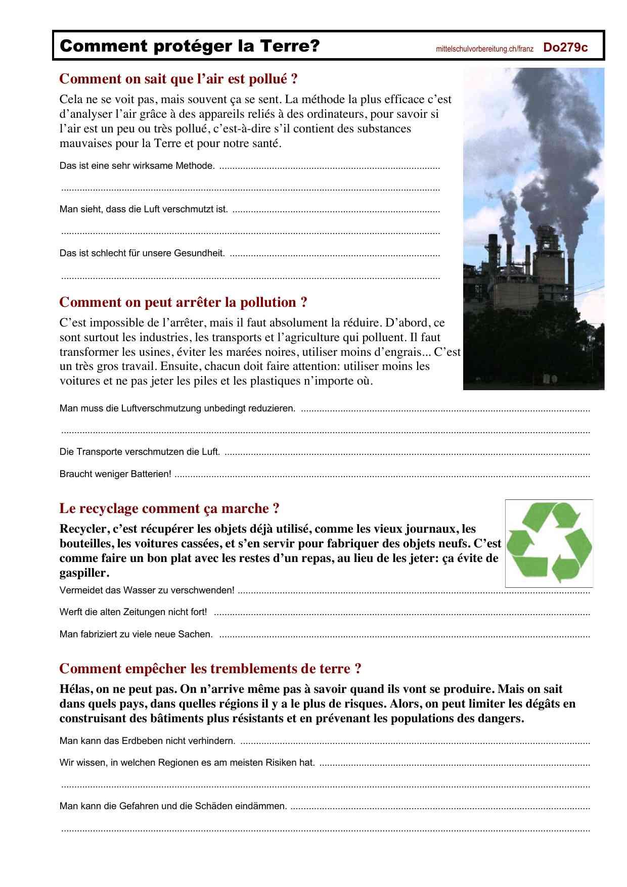 Arbeitsblätter Französisch Mittelschulvorbereitung